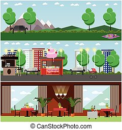 Vector set of lovers interior posters, banners in flat style