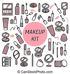 Vector set of makeup items in flat style