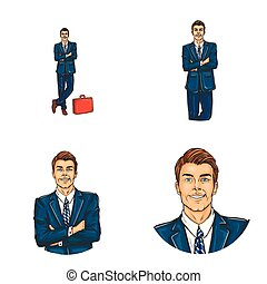Vector set of male avatars in pop art style