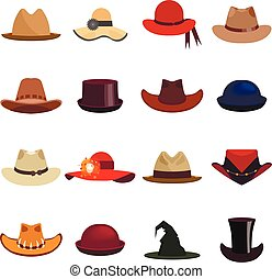 Vector set of man and woman hats. Illustration with...