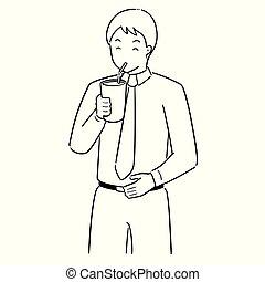 vector set of man drinking