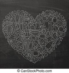 Vector set of Manicure cartoon doodle objects - Chalkboard...