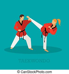 Vector set of martial arts people silhouette. Sport fighters positions illustration.