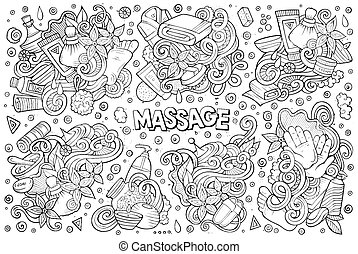 Vector set of Massage and Spa doodle designs - Vector hand...
