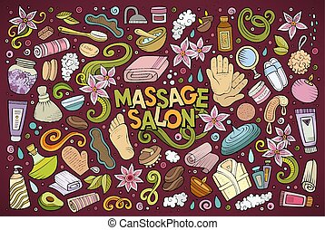Vector set of Massage and Spa objects - Vector hand drawn...