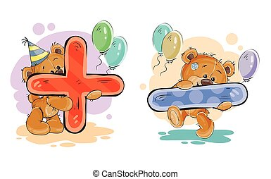 Vector set of mathematical symbols plus and minus with a fun teddy bear