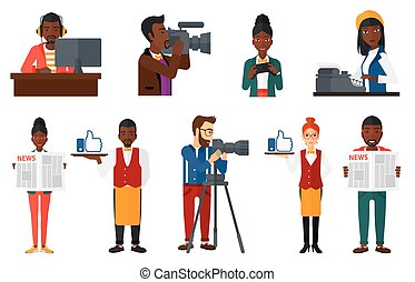 Vector set of media people characters. - Woman reading a...
