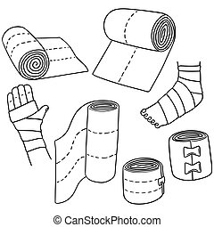vector set of medical bandage