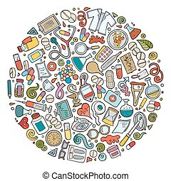 Vector set of Medical cartoon doodle objects - Colorful...