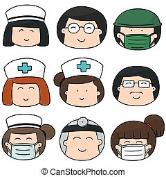 vector set of medical staff