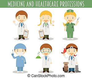 Vector Set of Medicine and Healthcare Professions in cartoon style