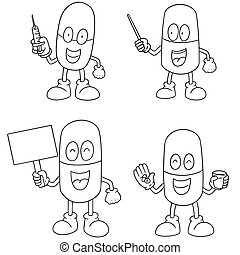 vector set of medicine capsule cartoon