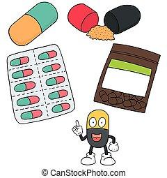 vector set of medicine capsule