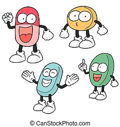 vector set of medicine cartoon