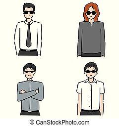vector set of men wearing sunglasses