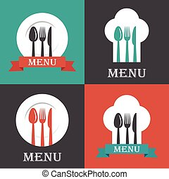 vector set of menu covers with spoon, fork and knife