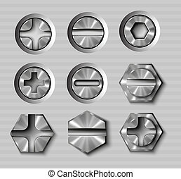 vector set of metal bolts and screws