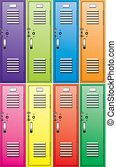 vector set of metal school lockers - vector set of colorful...