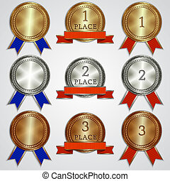 Vector set of metal badges with ribbons for the first, second, third place