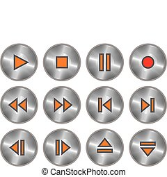Vector set of metallic buttons