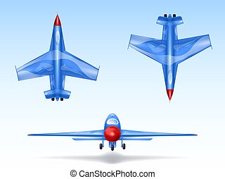 Vector set of military aircrafts, fighter jets. Combat plane in different views, aviation, air vehicle, war airplane.