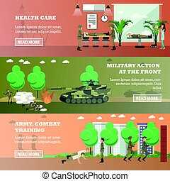 Vector set of military horizontal banners in flat style
