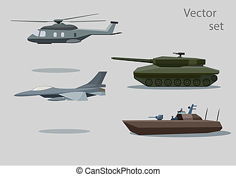 vector set of military vehicle with shadows isolated on gray background