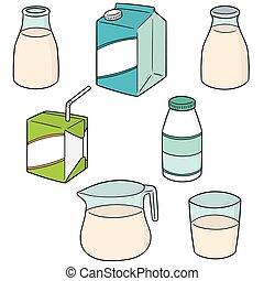 vector set of milk