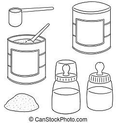 vector set of milk powder