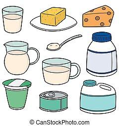 vector set of milk product