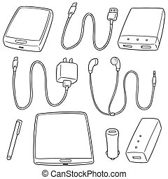 vector set of mobile device accessories