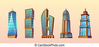 Vector set of modern buildings, urban skyscrapers