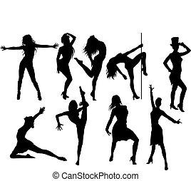 modern dancers - Vector set of modern dancers silhouette