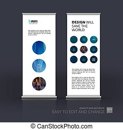 Vector set of modern Roll Up Banner Stand Design with blue rounds circles for business technology leaflet layout with polygonal effect. Corporate vector vertical flyer.