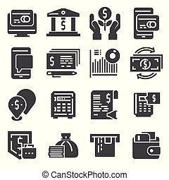 Vector Set of money icons. Vector illustration