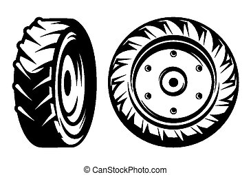 vector set of monochromatic tractor wheels of different kinds