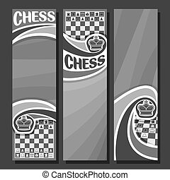 Vector set of monochrome banners for Chess