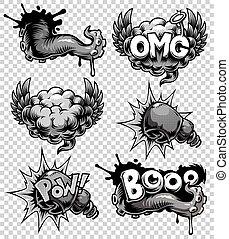 Vector set of monochrome comics icons