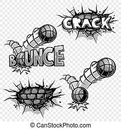Vector set of monochrome comics icons.