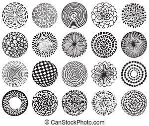 Vector set of monochrome deco mandalas.