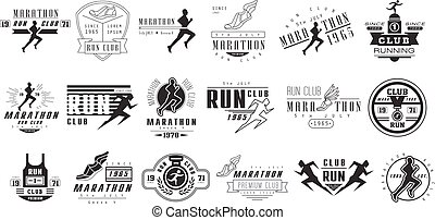 Vector set of monochrome logos for marathon or run club. Emblems with silhouettes of people and sports shoes. Running races. Design for t-shirt print, poster