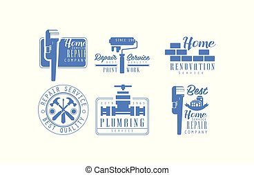 Vector set of monochrome logos for plumbing and home renovation services. Blue emblems for house repair and paint work company