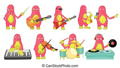 Vector set of monsters playing music illustrations - Set of...