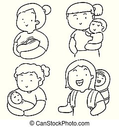 vector set of mother and children