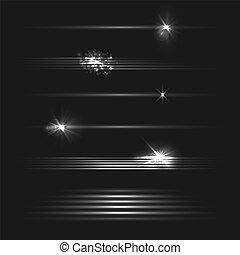 Vector Set of Motion Light Effects on Dark Background, Black and White Illustration, Design Elements Set.