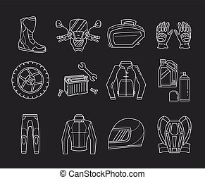 Vector set of motorcycle icons