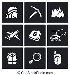 Vector Set of Mountain rescue Icons. Man, Ice Ax, Top, Aircraft, Luggage, Helicopter, Life Jacket, Magnifier, Portable Radio.