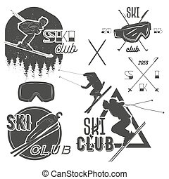Vector set of mountain skiing labels in vintage style....