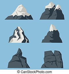 Vector set of mountains icons in a flat style