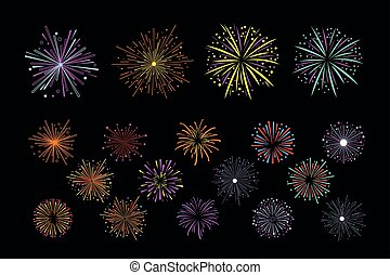 Vector set of multi-colored holiday fireworks. Bright sparkling salute. Decorative elements for festival invitation, poster or flyer